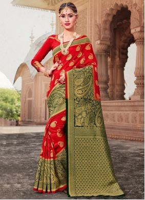Red Woven Ceremonial Traditional Saree