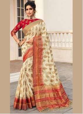 Off White Woven Work Silk Traditional Saree