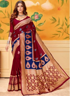 Woven Cotton Casual Saree in Maroon