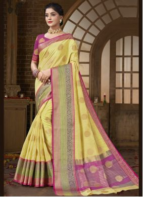 Woven Cotton Silk Traditional Designer Saree in Yellow