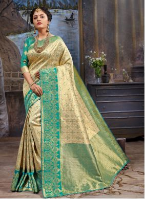 Woven Cream and Green Art Silk Classic Saree