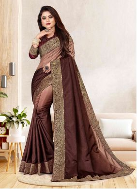 Brown Woven Festival Shaded Saree