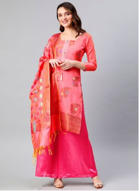 Woven Hot Pink Designer Palazzo Suit