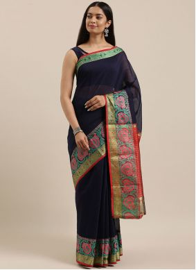 Woven Navy Blue Traditional Saree