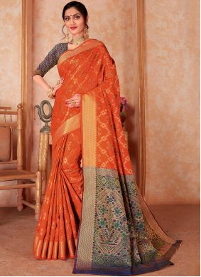 Woven Orange Silk Classic Saree