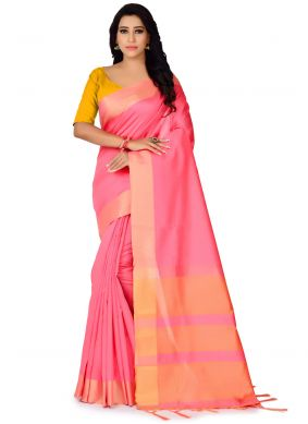 Woven Pink Traditional Saree