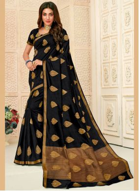 Woven Raw Silk Black Contemporary Saree