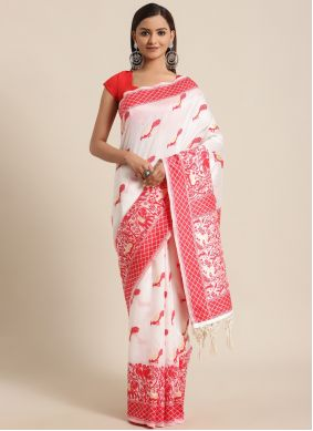 Woven Red and White Traditional Saree