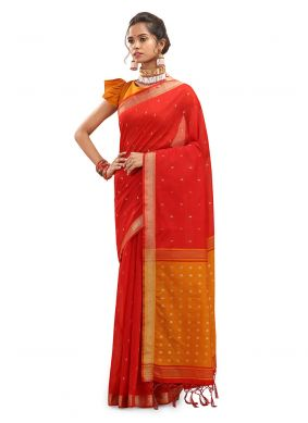 Woven Red Chanderi Traditional Saree