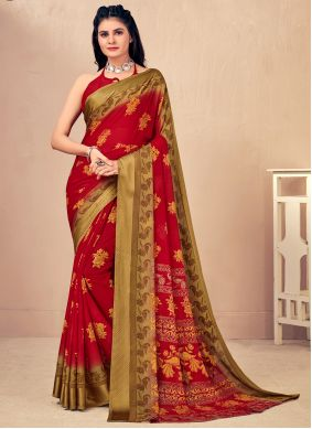 Woven Red Classic Saree