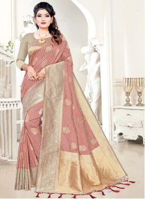 Woven Silk Beige and Maroon Traditional Designer Saree