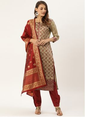 Woven Silk Pant Style Suit in Beige