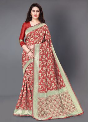 Woven Silk Red Classic Saree