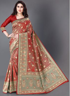 Woven Silk Red Trendy Saree