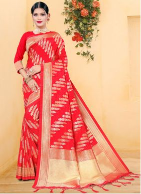 Woven Silk Traditional Designer Saree in Red