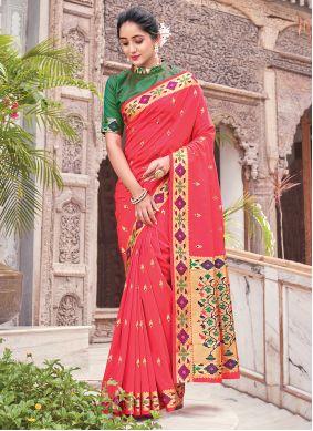 Fuchsia Woven Silk Traditional Saree