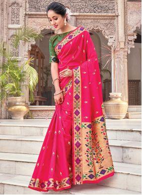 Magenta Woven Traditional Saree