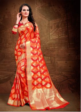 Red Woven Trendy Saree