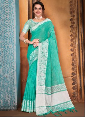 Woven Turquoise Traditional Saree