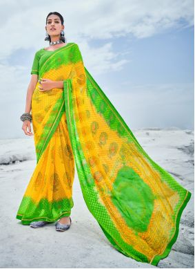 Yellow Abstract Print Faux Georgette Casual Saree