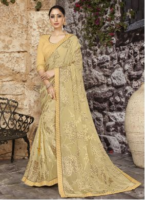 Yellow Abstract Print Festival Printed Saree