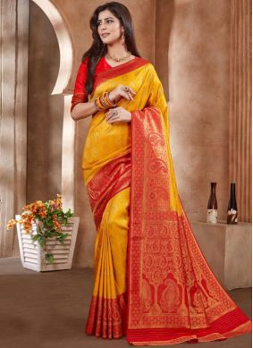 Yellow Art Silk Embroidered Designer Traditional Saree