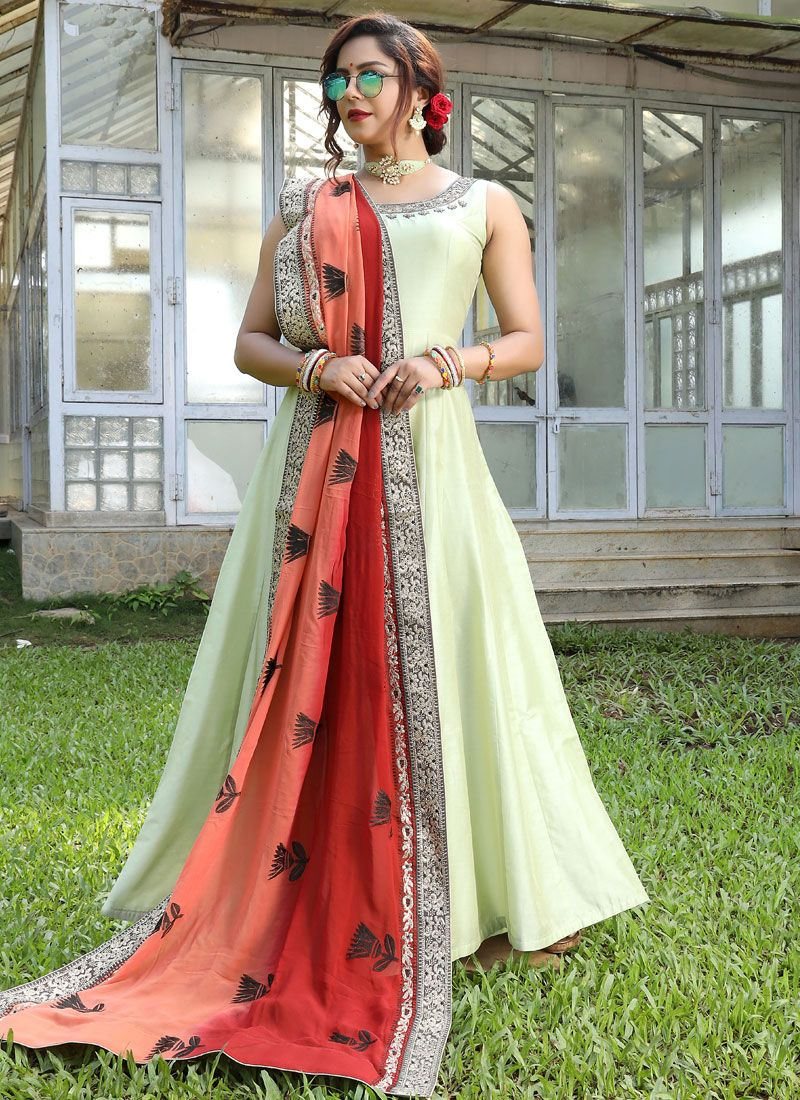 Yellow Art Silk Reception Floor Length Gown