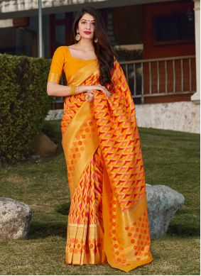 Yellow Banarasi Silk Mehndi Designer Saree
