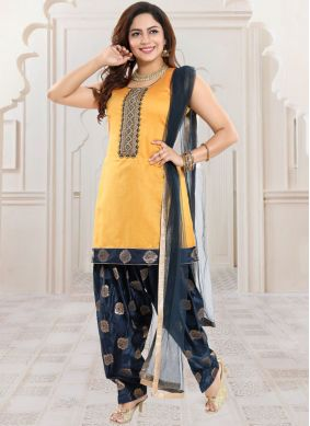 Yellow Banglori Silk Fancy Readymade Suit
