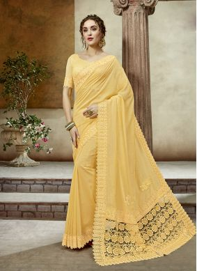 Yellow Border Art Silk Designer Saree