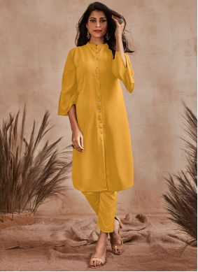Yellow Buttons Party Wear Kurti