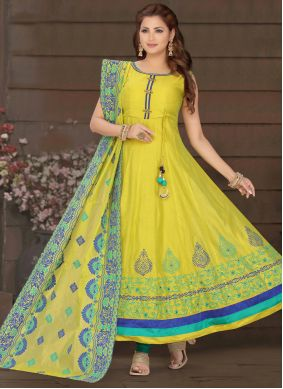 Yellow Chanderi Engagement Readymade Suit