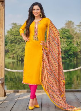 Yellow Cotton Festival Churidar Suit