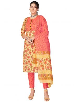 Yellow Cotton Readymade Suit