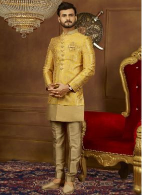 Yellow Embroidered Brocade Indo Western