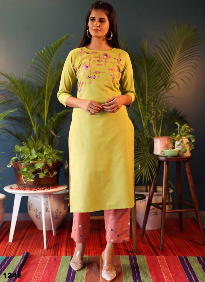 Yellow Embroidered Casual Casual Kurti