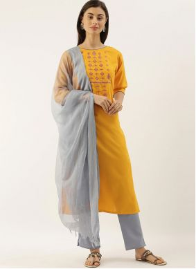 Yellow Embroidered Chanderi Pant Style Suit