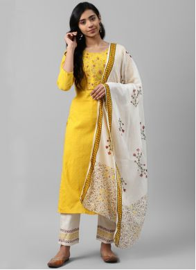 Yellow Embroidered Cotton Designer Salwar Suit