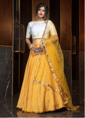 Yellow Embroidered Cotton Lehenga Choli