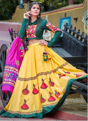 Yellow Embroidered Cotton Navratri Special