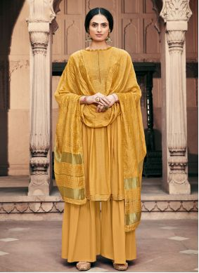 Yellow Embroidered Designer Palazzo Salwar Suit