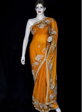 Yellow Embroidered Designer Saree