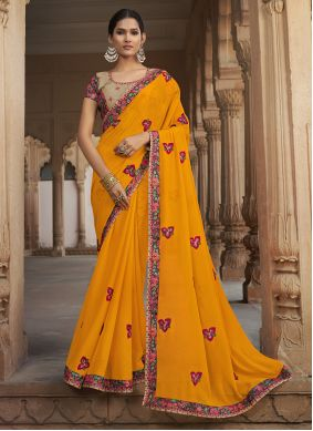 Yellow Embroidered Engagement Traditional Saree