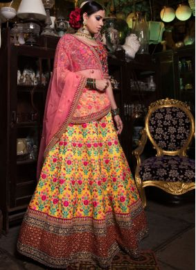 Yellow Embroidered Malbari Silk  Lehenga Choli