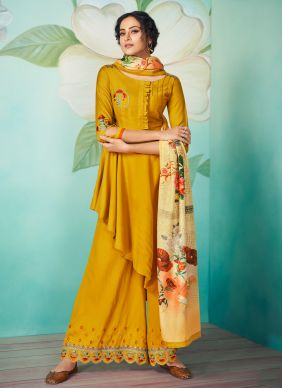 Yellow Embroidered Party Readymade Designer Salwar Suit