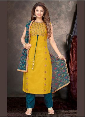 Yellow Embroidered Party Trendy Salwar Suit