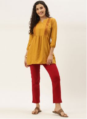 Yellow Embroidered Party Wear Kurti