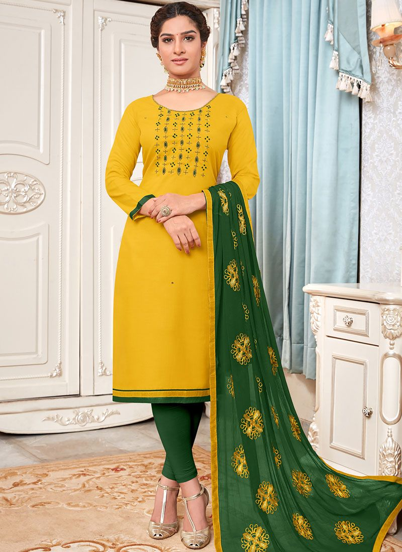 Yellow Embroidered Salwar Suit