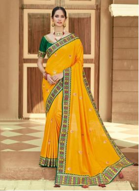 Yellow Embroidered Traditional Saree