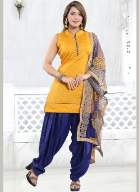 Yellow Fancy Chanderi Designer Patiala Suit